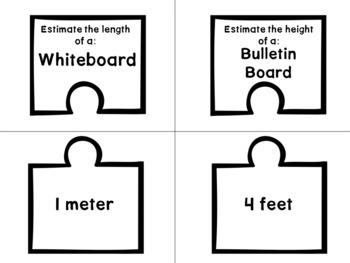 2.MD.3 Puzzle Matching Activity- Estimating Measurements