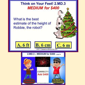 2.MD.3 Interactive Test Prep Game - Jeopardy 2nd Grade Math: Estimate lengths