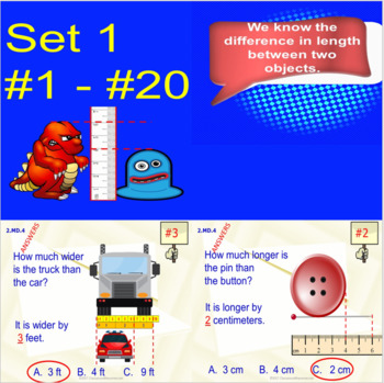 2.MD.4 Math Interactive Test Prep: Measure Objects Two Ways in 3 Formats