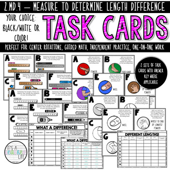 2.MD.4 Task Cards | Measuring to determine length difference