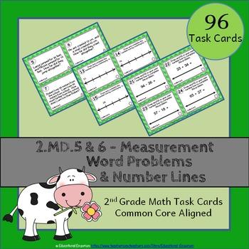 2.MD.5 & 2.MD.6 Task Cards: Word Problems & Number Lines Task Cards 2MD5 & 2MD6: