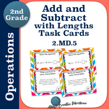 2.MD.5 Add and Subtract within 100 with Lengths Word Problem Task Cards