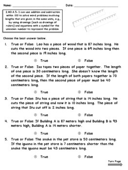 2.MD.5 Assessments- Measurement Word Problems