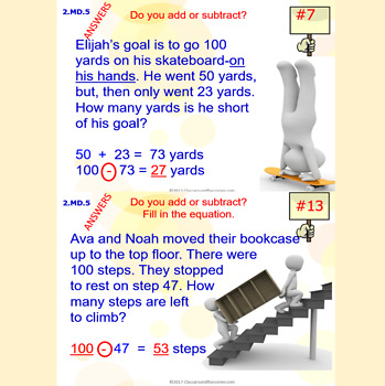 2.MD.5 Math Interactive Test Prep: Length Story Problems in 3 Formats