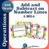 2.MD.6 Add and Subtract within 100 on Number Lines Task Cards