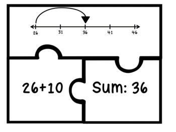 2.MD.6 Puzzle Matching Activity- Sums and Differences on a Number Line