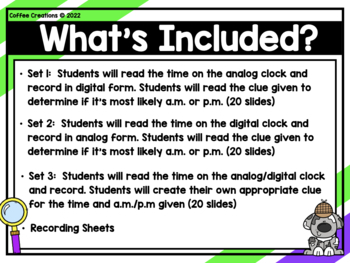 2.MD.7 - A.M. or P.M. of the day! - Telling Time