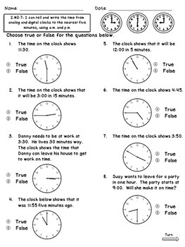 2.MD.7 Assessments- Telling Time to the Nearest 5 Minutes including A.M. & P.M.