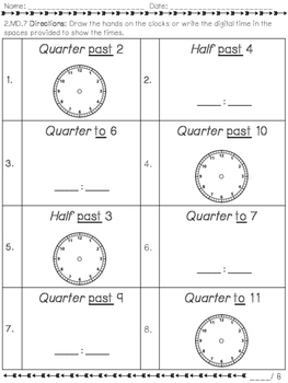 2.MD.7 Telling Time to the QUARTER HOUR Practice