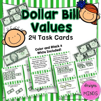 2.MD.8 Task Cards- Dollar Bill Values