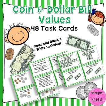 2.MD.8 Task Cards- Coin and Dollar Bill Values