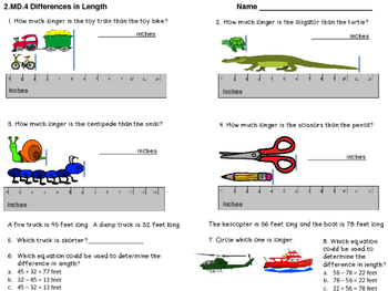 2.MD.A.4 Measurement Assessment - Differences in Length of