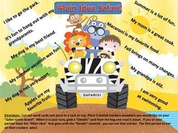 Main Idea Common Core Reading Literacy Center Games!  Animal Cracker Safari