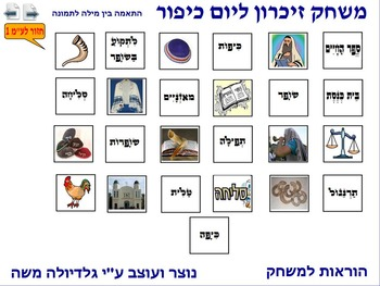 2 Memory Game for Yom Kipur word to photo Hebrew