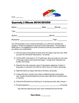 2 Minute Book Review Form Oral Presentation