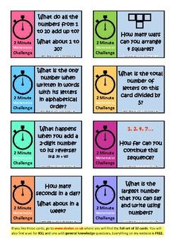 2-Minute Mathematics Challenge Cards