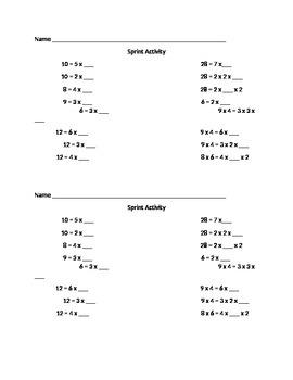 2 Minute Multiplication Worksheet