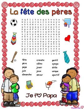 2 Mots cachés de la Fête des Pères : 2 Father's Day French word searches