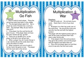 2 Multiplication Games for fives and sixes