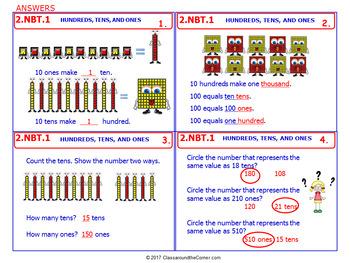 2.NBT.1 Math NO PREP Task Cards— HUNDREDS, TENS, & ONES 2nd Grade