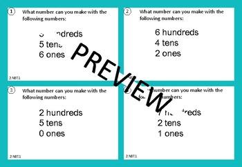 2.NBT.1 Task Cards (Place Value Task Cards) Grade 2 Maths