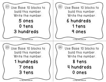 2.NBT.1 Task Cards - Place Value Using Base 10 Blocks