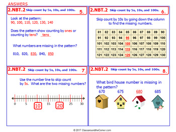 2.NBT.2 Math NO PREP Task Cards— SKIP COUNT BY 5s, 10s, & 100s 2nd Grade