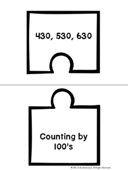 2.NBT.2- Skip Count by 5's, 10's, and 100's Puzzle Matching Activity