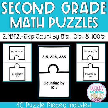 2.NBT.2- Skip Count by 5's, 10's, and 100's Puzzle Matchin