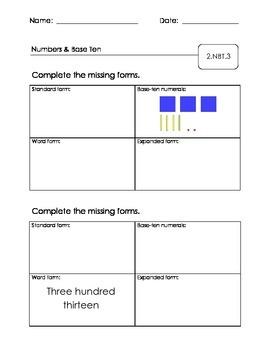 2.NBT.3 & 2.NBT.4 Common Assessment