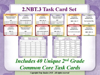 2.NBT.3 2nd Grade Math Task Cards - 2 NBT.3 Read And Write Numbers To 1000