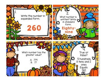2.NBT.3 Autumn Seat Scoot Class Activity- Numbers to 1000