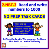 2.NBT.3 Math NO PREP Task Cards— Read and write  numbers to 1000 for 2nd Grade