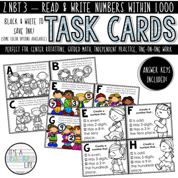 2.NBT.3 Task Cards | Read & Write Numbers (within 1,000)