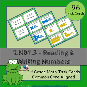 2.NBT.3 Task Cards: Reading & Writing Numbers to 1000 Task