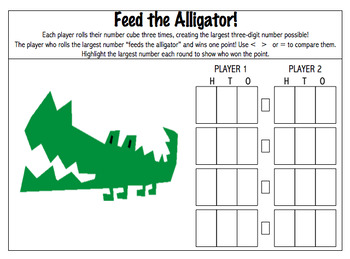 CCSS 2.NBT.4 Feed the Alligator