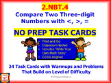 2.NBT.4 Math NO PREP Task Cards— Compare Two Three-digit Numbers