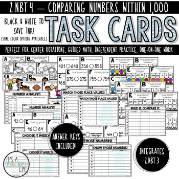 2.NBT.4 Task Cards | Comparing Numbers (within 1,000)