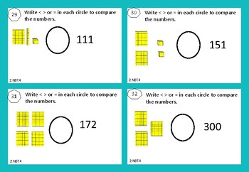 2.NBT.4 - Write < > or = in each circle to compare the numbers.