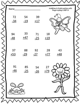 2.NBT.5 2 Digit Addition and Subtraction SPRING-THEMED worksheet