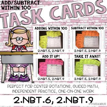 2.NBT.5, 2.NBT.9 Task Cards | 2-Digit Addition and Subtraction