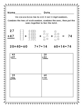 2.NBT.5 Adding 2 and 3 digit numbers