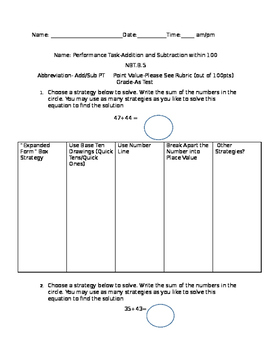 2.NBT.5-Addition/Subtraction within 100 Performance Task/Rubrics