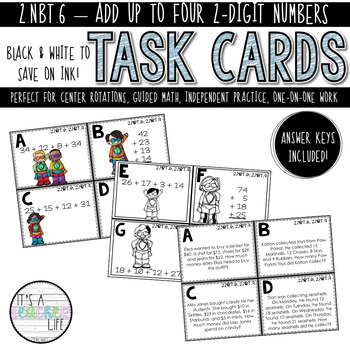 2.NBT.6, 2.NBT.9 Task Cards | Add Up To Four 2-Digit Numbers