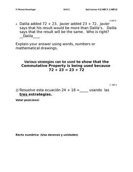 2.NBT.6 /  2.NBT.9   in English & Spanish with Answer Key