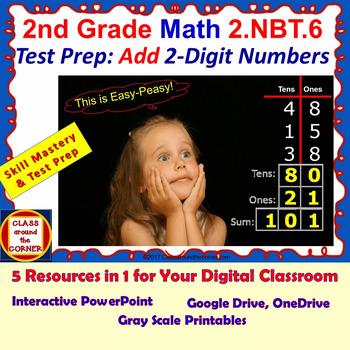 2.NBT.6 Math Grade 2 Interactive Test Prep—ADD 2-DIGIT NUM