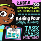 2.NBT.6 Task Cards ✦ Adding Four 2-Digit Numbers ✦ 2nd Grade Google Classroom™