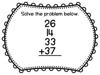 2.NBT.6 Task Cards- Adding Four Two-Digit Numbers