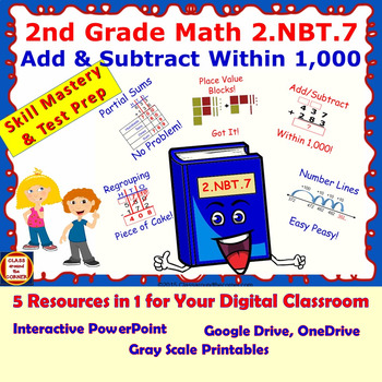 2.NBT.7 Math Interactive Test Prep – ADD / SUBTRACT WITHIN 1,000 in 3 Formats