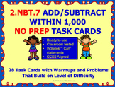 2.NBT.7 Math 2nd Grade NO PREP Task Cards—ADD AND SUBTRACT